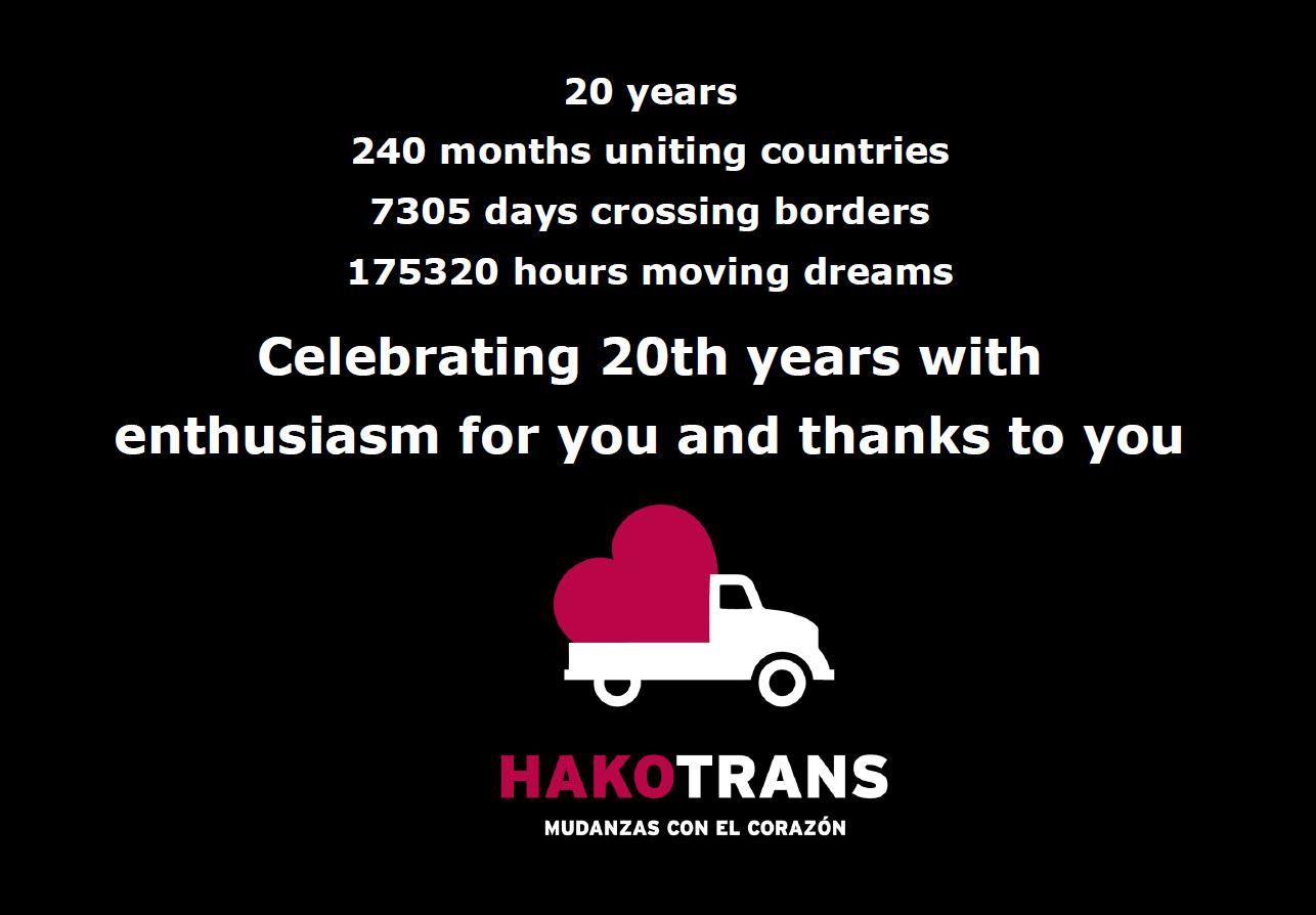 Mudanza Hakotrans 20 aniversario EN